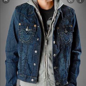 True Religion hooded jimmy distressed denim jacket